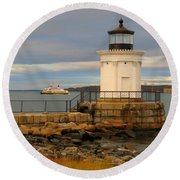 Machigonne Passes Bug Light Round Beach Towel
