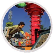 Round Beach Towel featuring the photograph Mack The Knife by Skip Hunt