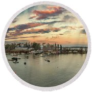 Round Beach Towel featuring the photograph Mackerel Cove Sunrise by Guy Whiteley