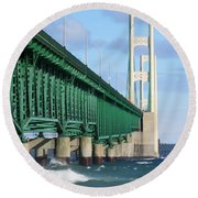 Mackinac Bridge And Waves Round Beach Towel