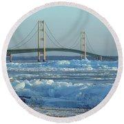 Mackinac Bridge In Ice 2161801 Round Beach Towel