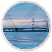 Mackinac Bridge In Ice 2161803 Round Beach Towel