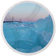 Mackinac Bridge In Ice 2161805 Round Beach Towel