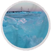 Mackinac Bridge In Ice 2161806 Round Beach Towel