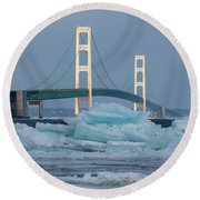 Mackinac Bridge In Ice 2161809 Round Beach Towel