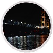 Mackinac Lights Round Beach Towel