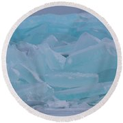 Round Beach Towel featuring the photograph Mackinaw City Ice Formations 21618010 by Rick Veldman