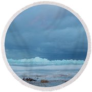 Mackinaw City Ice Formations 21618011 Round Beach Towel