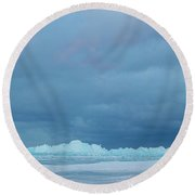 Round Beach Towel featuring the photograph Mackinaw City Ice Formations 21618012 by Rick Veldman