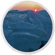 Round Beach Towel featuring the photograph Mackinaw City Ice Formations 21618013 by Rick Veldman