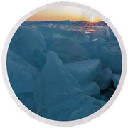 Round Beach Towel featuring the photograph Mackinaw City Ice Formations 21618014 by Rick Veldman