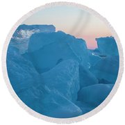 Round Beach Towel featuring the photograph Mackinaw City Ice Formations 2161804 by Rick Veldman