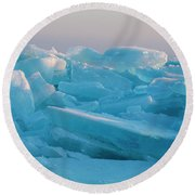 Round Beach Towel featuring the photograph Mackinaw City Ice Formations 2161807 by Rick Veldman