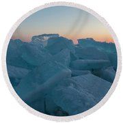 Round Beach Towel featuring the photograph Mackinaw City Ice Formations 2161808 by Rick Veldman