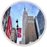 Macys And Empire State Building Round Beach Towel