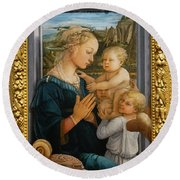 Madonna And Child Lippi The Uffizi Gallery Florence Italy Round Beach Towel