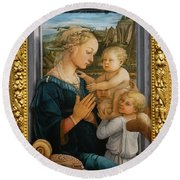 Madonna And Child Lippi The Uffizi Gallery Florence Italy Round Beach Towel