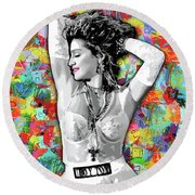 Round Beach Towel featuring the painting Madonna Boy Toy by Carla B