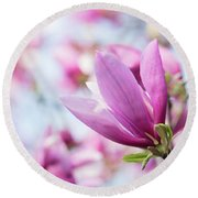 Round Beach Towel featuring the photograph Magenta Magnolias by Emily Johnson