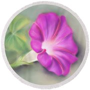 Magenta Morning Glory And Leaf Round Beach Towel