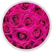 Magenta Roses Round Beach Towel