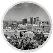 Magic City Skyline Bw Round Beach Towel