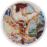 Round Beach Towel featuring the painting Magic Loves The Hungry  by Rene Capone