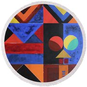 Magical Lines  Round Beach Towel