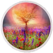 Magical Moon In The Poppies Round Beach Towel