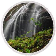 Magical Mystical Mossy Waterfall Round Beach Towel