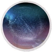 Magical Night Moment By The Seashore In Dreamland 3 Round Beach Towel