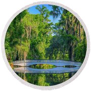 Magnolia Garden Bridge Reflection Round Beach Towel
