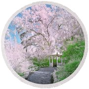 Magnolia Gazebo  Round Beach Towel