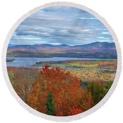 Maine Fall Colors Round Beach Towel