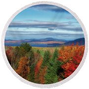 Maine Fall Foliage Round Beach Towel