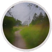 Maine Island Chapel Round Beach Towel