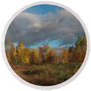 Maine Wilderness Color 2 Round Beach Towel