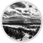 Majestic Clouds Bw Round Beach Towel