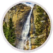 Majestic Upper Yosemite Fall Round Beach Towel