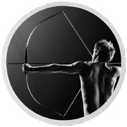 Male Archer Drawing Long Bow Round Beach Towel