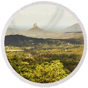 Maleny To The Glass House Mountains Round Beach Towel