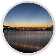 Malibu Pier At Sunrise Round Beach Towel