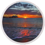 Malibu Pier Sunrise Round Beach Towel