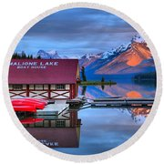 Maligne Lake Sunset Spectacular Round Beach Towel