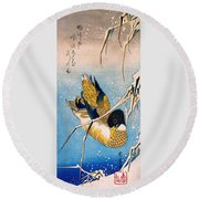 Mallard Duck And Snow-covered Reeds Round Beach Towel