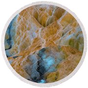 Round Beach Towel featuring the photograph Mammoth Hot Springs by Mae Wertz