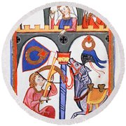 Manesse Codex -1305-40- German Manuscript.the Lover Herr Rubin Shoots With Crossbow His Message. Round Beach Towel