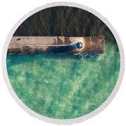 Manistee Breakwall Aerial Round Beach Towel
