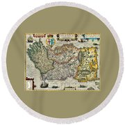 Round Beach Towel featuring the painting Map Of Ireland By Boazio by Val Byrne