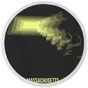 Map Of Massachusetts 2 Round Beach Towel
